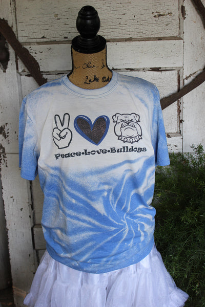 Peace, Love, and Bulldogs Blue Bleached Tee Shirt