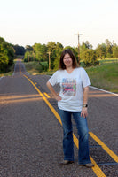 The Rural Route Graphic V neck Tee shirt with vintage red truck, farm road sign