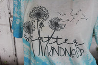 Scatter Kindness Dandelions Inspirational Turquoise Bleached Short Sleeve Shirt-Graphic T Shirts-Gypsy Farm Girl