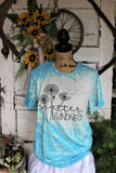 Scatter Kindness Dandelions Inspirational Turquoise Bleached Short Sleeve Shirt