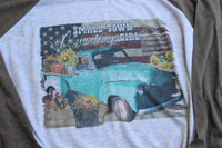 Small Town Country Girl - Fall Sunflower, Pumpkins, and Flag Baseball Tee Shirt