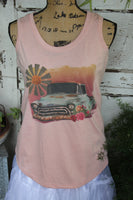 Sunrise Windmill Truck and Flower Peach Tank Top
