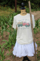 Support Your Local Farmers Tee Shirt with Red Truck load of flowers and vegetables