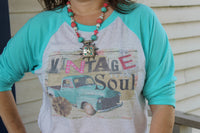 Vintage Soul Turquoise Raglan T Shirt with Old Truck Graphic tee shirt with old truck and flower