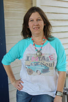 Graphic shirt with Vintage Soul Turquoise Raglan T Shirt with Old Truck