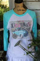Vintage Soul Turquoise Raglan T Shirt with Old Truck