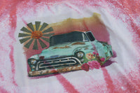 Windmill Sunrise Bleached Tee with Vintage Truck and Flowers