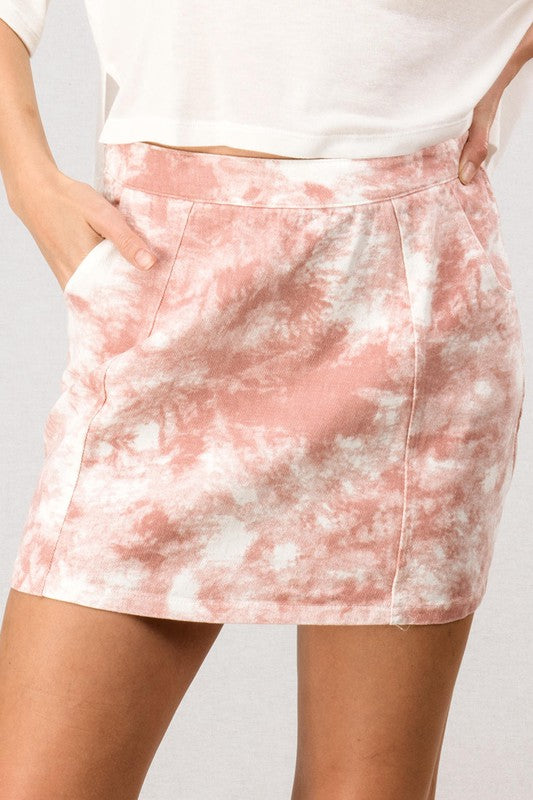 Dyed Pink Mini Skirt