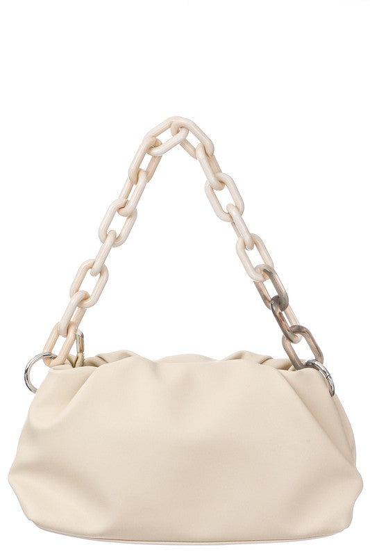 Ivory Faux Leather Acetate Chain Fashion Bag
