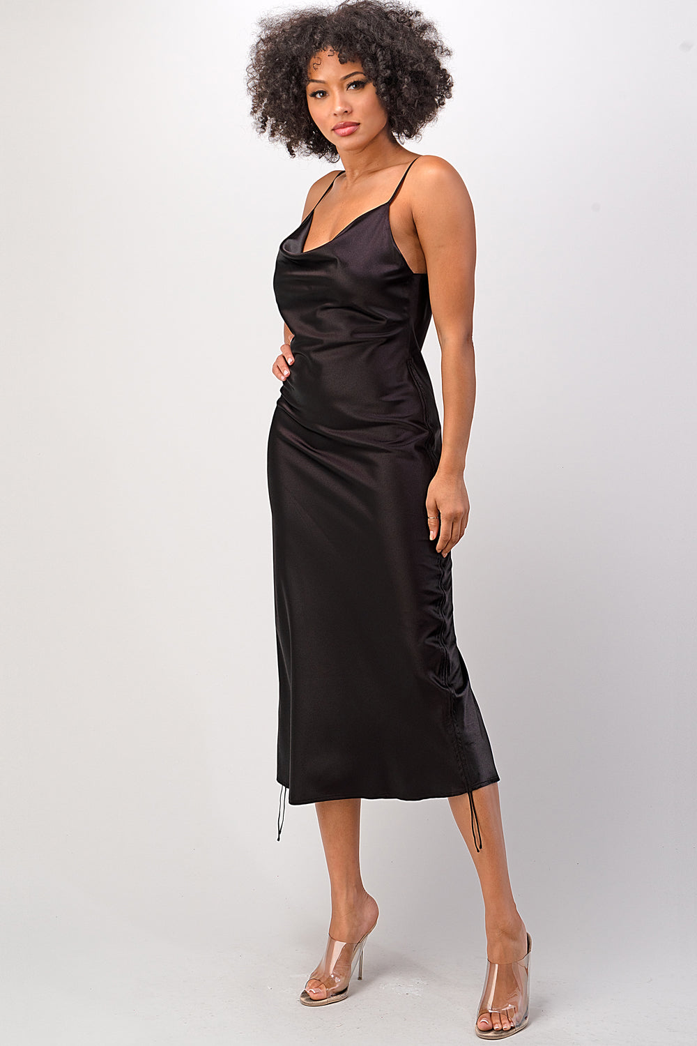 Noir Satin Slip Dress