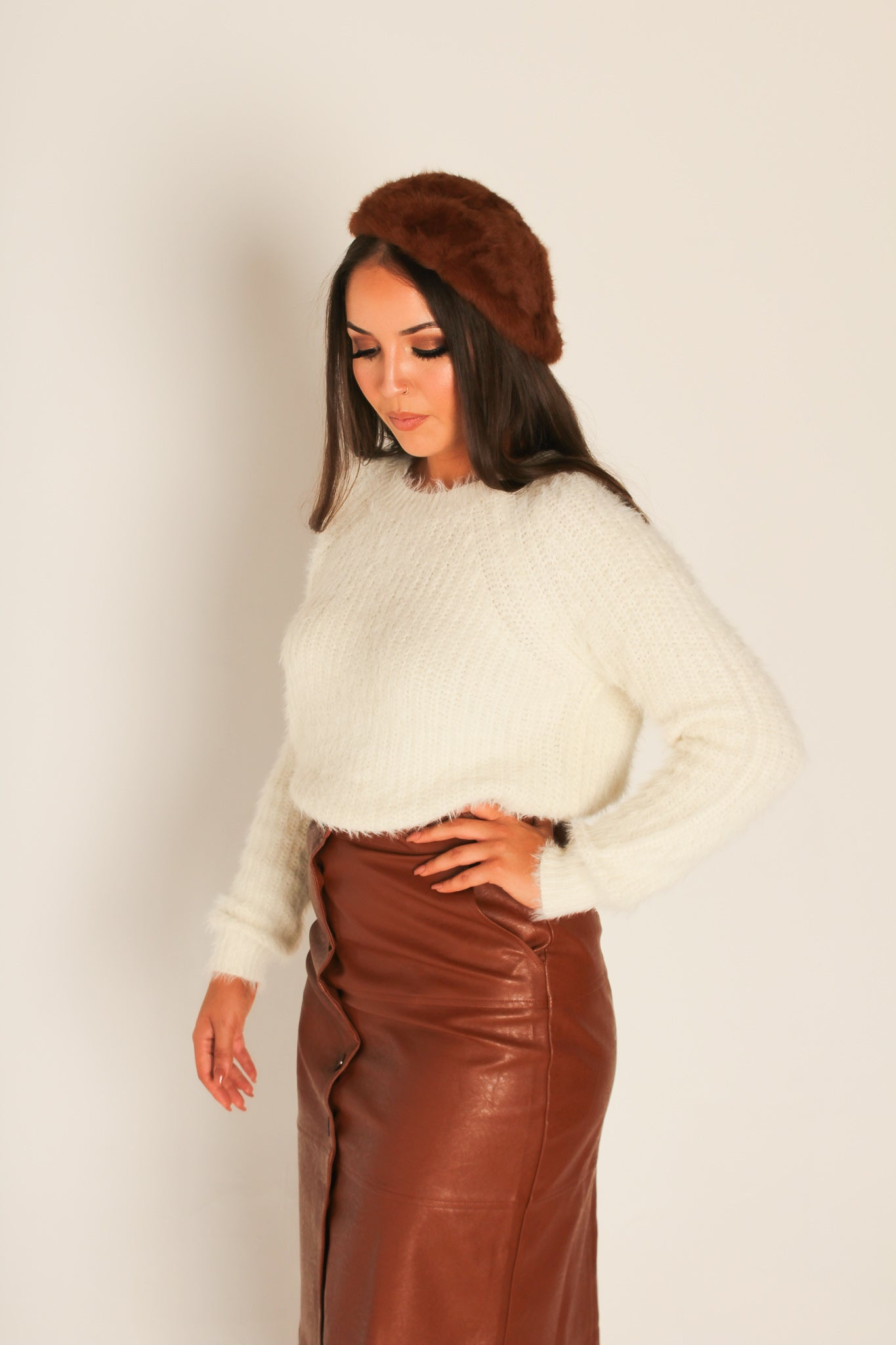 Brown Faux Fur Beret