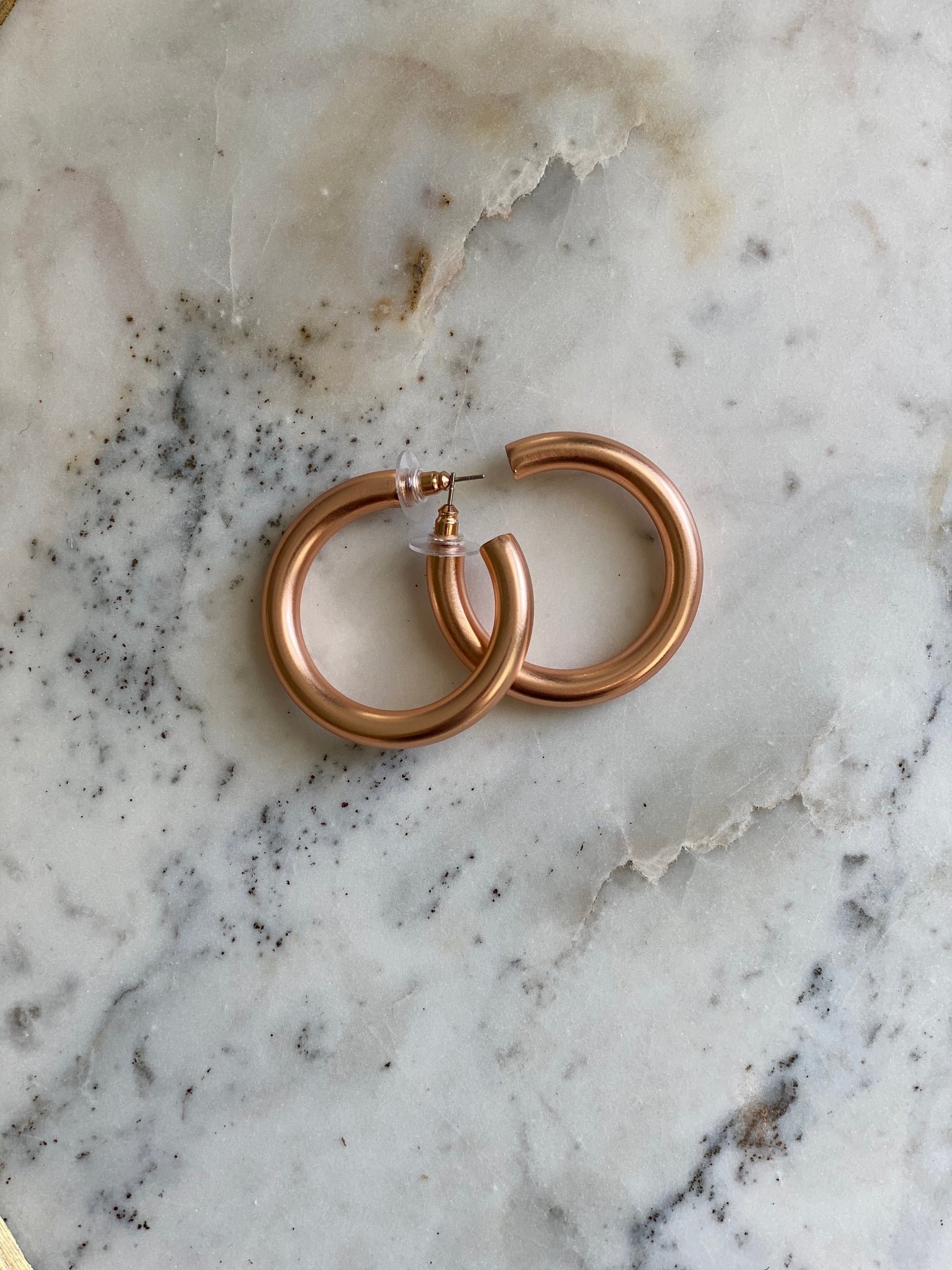Matte Rose Gold Chunky Round Earrings