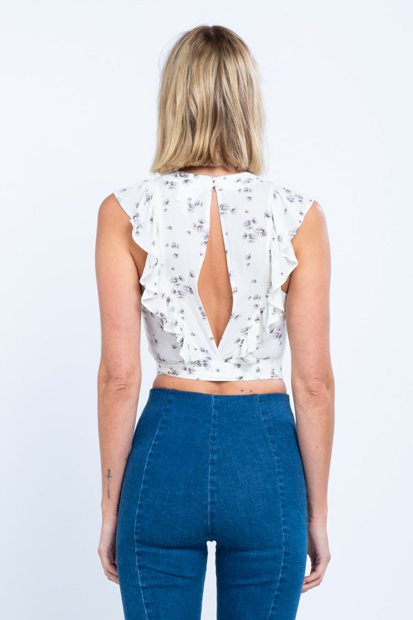 Floral Back Tie Top