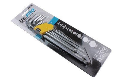 US Pro  9PC EXTRA LONG BALL HEX ALLEN KEY SET B2234