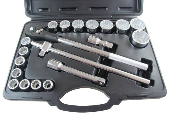 "BERGEN 20pc 3/4""Dr Multi-Drive Spline Socket Set 19-50"