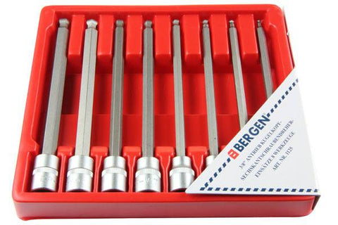 "BERGEN 8pc 3/8"" LONG BALL END HEX Allen BIT Key SOCKETS B1125"