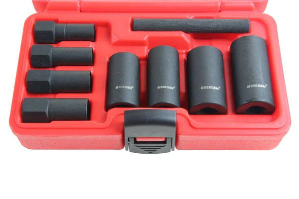 "Bergen 9pc 1/2"" Dr Impact Locking Wheel Nut Socket Set B1321"