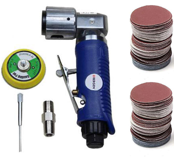 2'' Air Angle Sander Grinder Polisher with 100 Pack Mixed Sanding Grit Hook/Loop 50mm Velcro