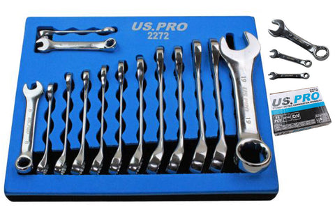 Stubby Spanner Set in Foam Tray 14 pc midget Combination Wrench Spanners 6-19mm