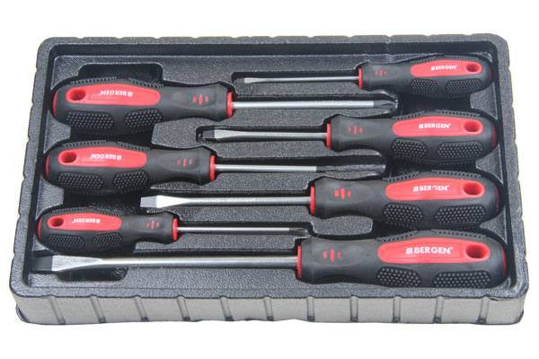 Bergen 7pc Screwdrivers Phillips & Slotted Cushioned Grip