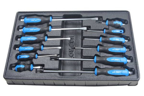 US Pro by Bergen 12 Piece Mechanics Go-Through Screwdriver Set in Tray B1522