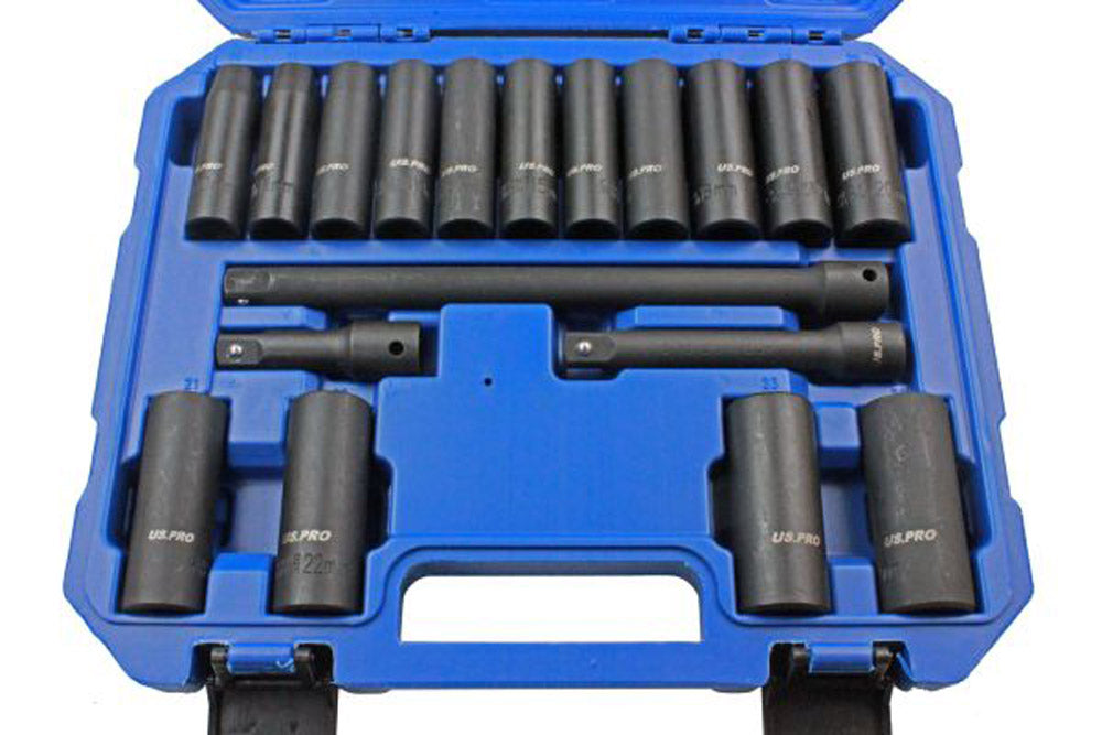 Deep Impact Socket Set with Extension Bars 1/2 Inch 18pc 10 24mm Sockets US Pro