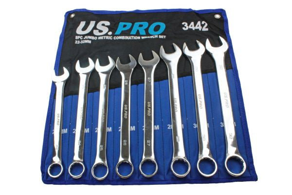 Jumbo Spanners 8pc Long Reach Combination Wrench Spanner Set 22mm - 32mm US Pro
