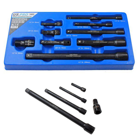 9pc Impact Extension Bar Set,1/4'' 3/8'' 1/2'' dr, Socket Sockets Bars US Pro