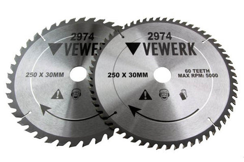 2 Pack TCT Circular Wood Saw Blades 250mm x 30mm 1 x 40T and 1 x 60T Table Mitre