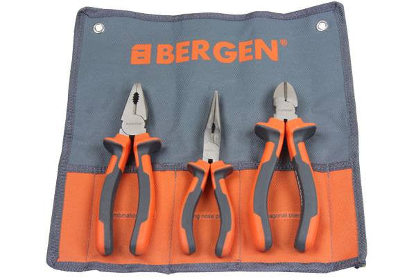 "Bergen 3PC 7"" PLIERS SET Combination Diagonal Long Nose B1735"