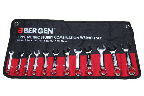 BERGEN 12pc Stubby Combination Spanner Set 8-19mm Midget Spanners b1851