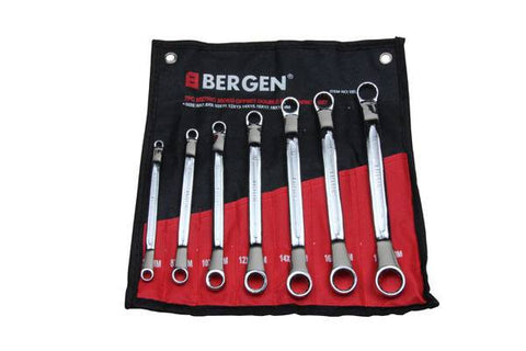 Bergen 7pc 35deg Offset Ring Spanner Set Swan Neck Cranked Box B1852