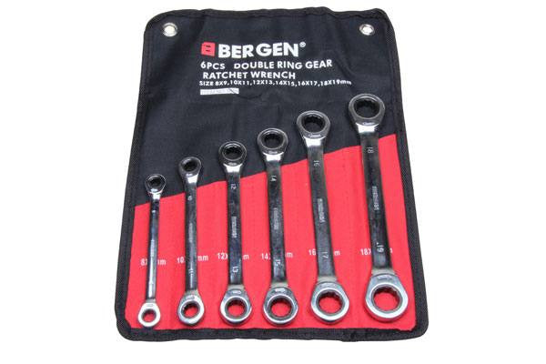 BERGEN 6pc Double Ratchet Ring Spanner Set 8-19mm Wrenches B1894