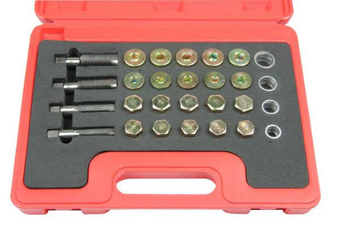 Bergen 64pc Universal Drain Sump Plug Repair Kit Damaged Thread Oil M13-20 B3005