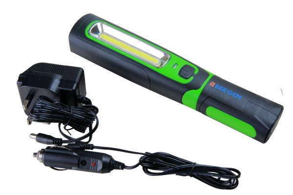 BERGEN COB INSPECTION LIGHT & LED TORCH Super Bright Rechargeable Mag-bender Body