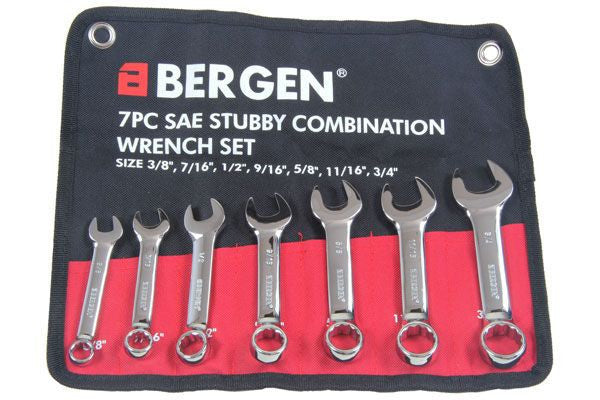 BERGEN 7pc SAE AF STUBBY COMBINATION SPANNER WRENCH SET B1850