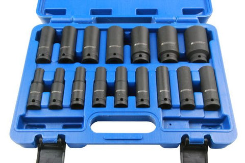 Bergen 16pc 1/2'' Dr 6-Point 10-32mm Deep Impact Socket Set B1358