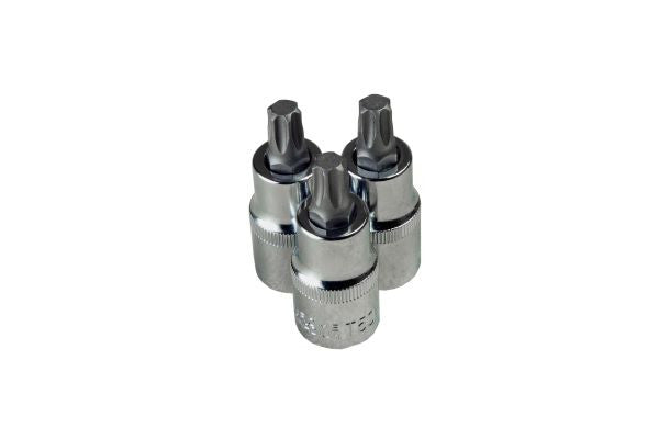 "Bergen 3pc 1/2""Dr T45 Torx Star Male Bit Sockets TRX-Star 55mm Length B1190"