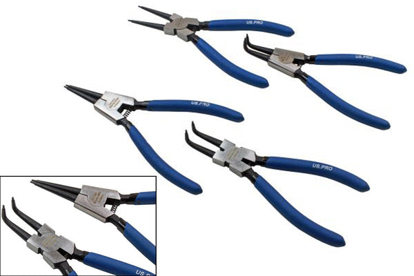 7'' Circlip Pliers Set 4 Piece - Internal, External Bent