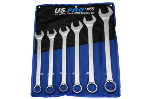 US PRO 6 piece Super Jumbo Combination Spanner Set Wrench 33-50mm B1865