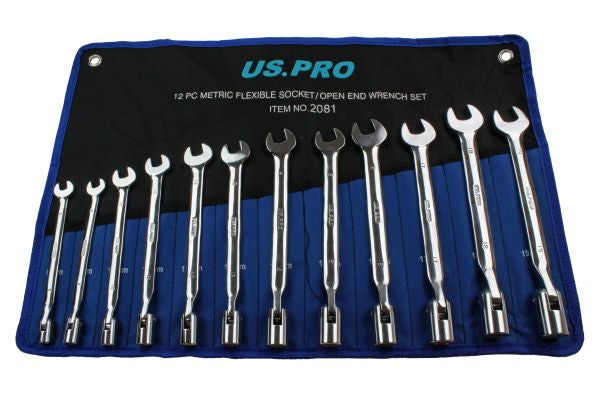 US PRO 12pc Flexible Head Socket / Open End Spanner Set Metric 8-19mm B2081