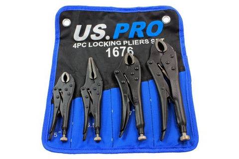 US PRO 4pc LOCKING PLIERS SET Mole Grips, Long Nose, Curved Jaw B1676