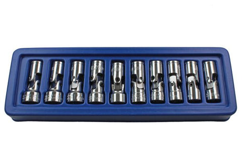 "US PRO 10pc 12 point 3/8"" Flexible Universal Joint Socket Set 10mm to 19mm UJ Flexi B1693"
