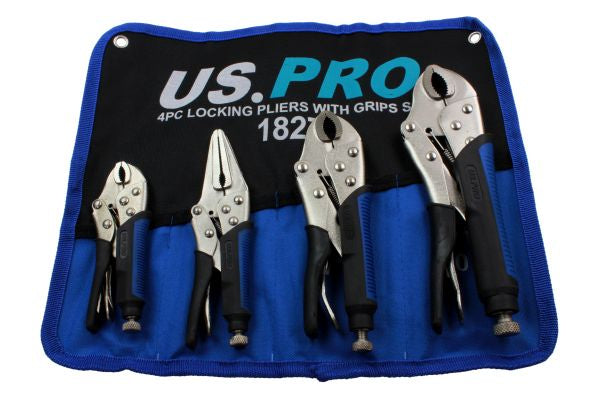 US PRO 4pc LOCKING PLIERS SET Mole Grips, Long Nose, Curved Jaw B1827 with grips