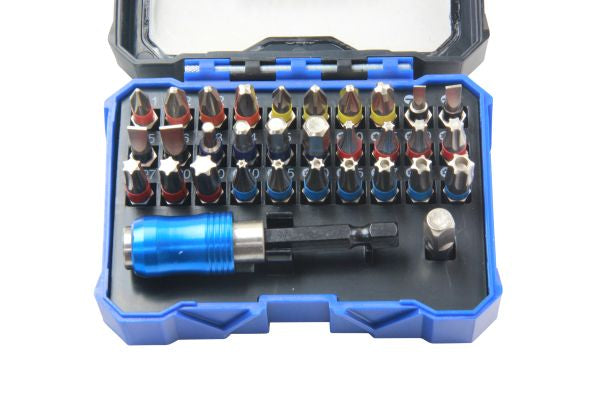 Bergen 32PC Colour-Coded Screwdriver, Hex, Torx Bit Set 1290