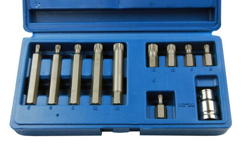 "Bergen 11pc 1/2"" Dr Short & Long Spline Bit Set M5 M6 M8 M10 M12 B1294"