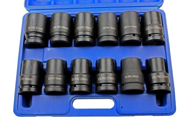 "US PRO 12pc 1""dr  DEEP IMPACT SOCKETS 24-41mm single hex 1 inch Socket Set"