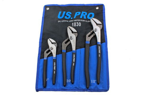 US Pro 3pc WATERPUMP Pipe Wrench Pliers Grips Water Pump Set B1830 200, 250, 300mm