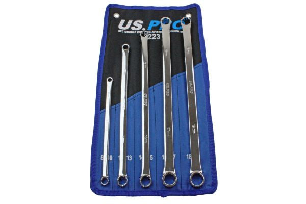 US Pro 5pc Extra Long Flat Gearbox Spanners Aviation Ring Wrenches 8-19mm B3223