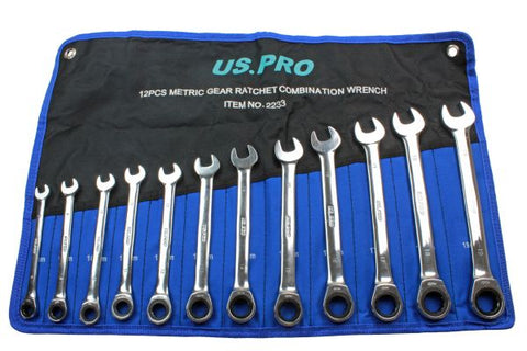 US Pro 12pc Ratchet Spanner Set 8-19mm 72 teeth Ratcheting Wrench Spanners B2233